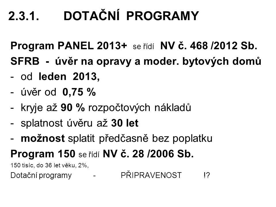2.3.1.DOTAČNÍ PROGRAMY Program PANEL 2013+ se řídí NV č.