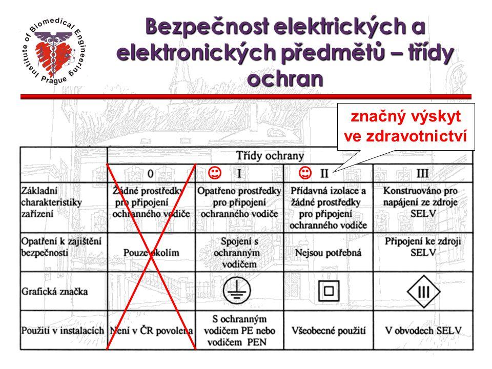 Bezpečnost elektrických a elektronických předmětů – třídy ochran značný výskyt ve zdravotnictví