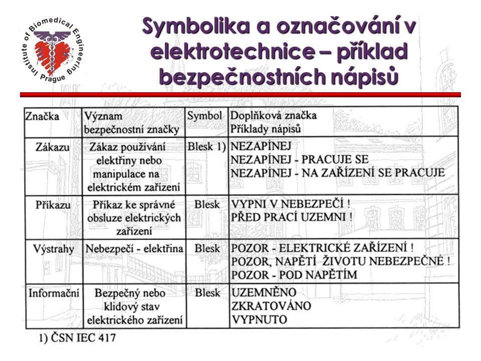 Symbolika a označování v elektrotechnice – příklady bezpečnostních tabulek Tabulka zákazu Tabulka příkazu Tabulka výstrahy Tabulka informační