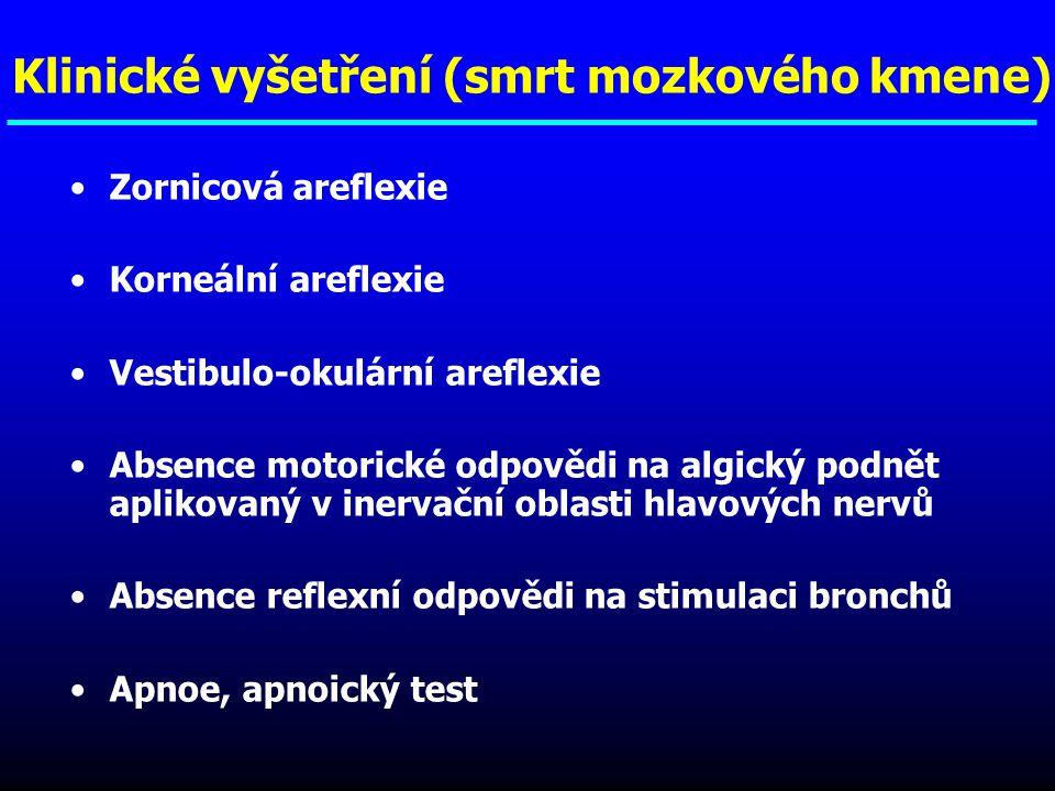 Klinické vyšetření (smrt mozkového kmene) Zornicová areflexie Korneální areflexie Vestibulo-okulární areflexie Absence motorické odpovědi na algický p