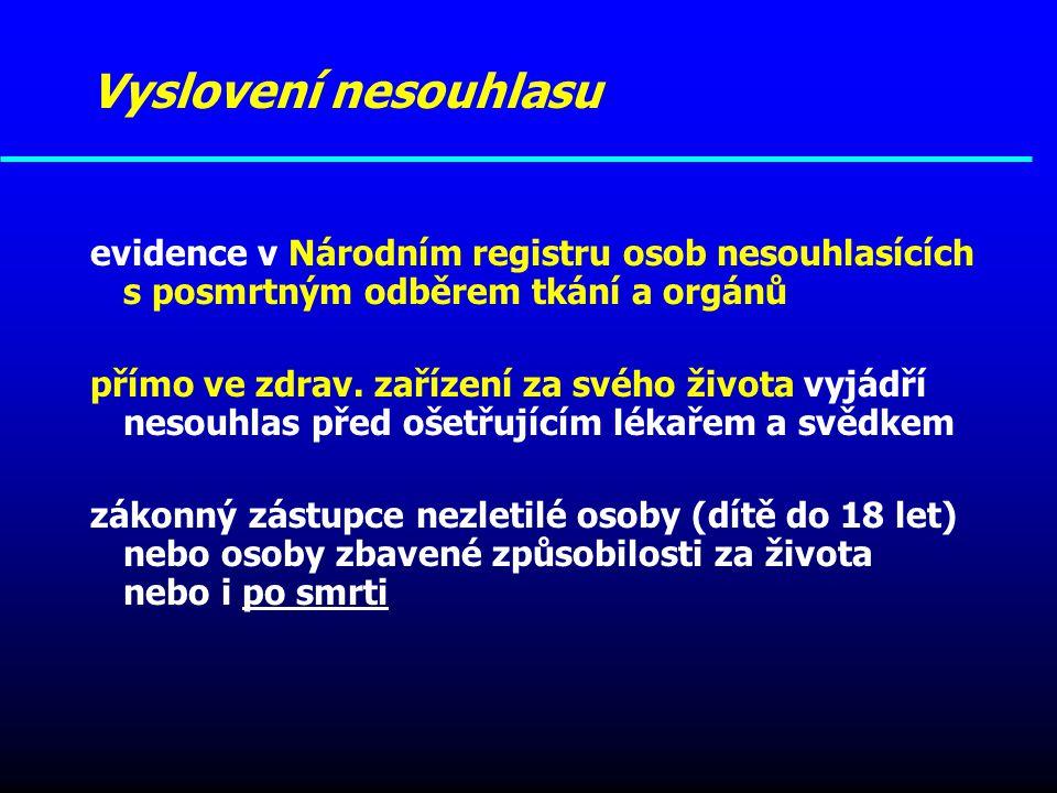 Vyslovení nesouhlasu evidence v Národním registru osob nesouhlasících s posmrtným odběrem tkání a orgánů přímo ve zdrav. zařízení za svého života vyjá