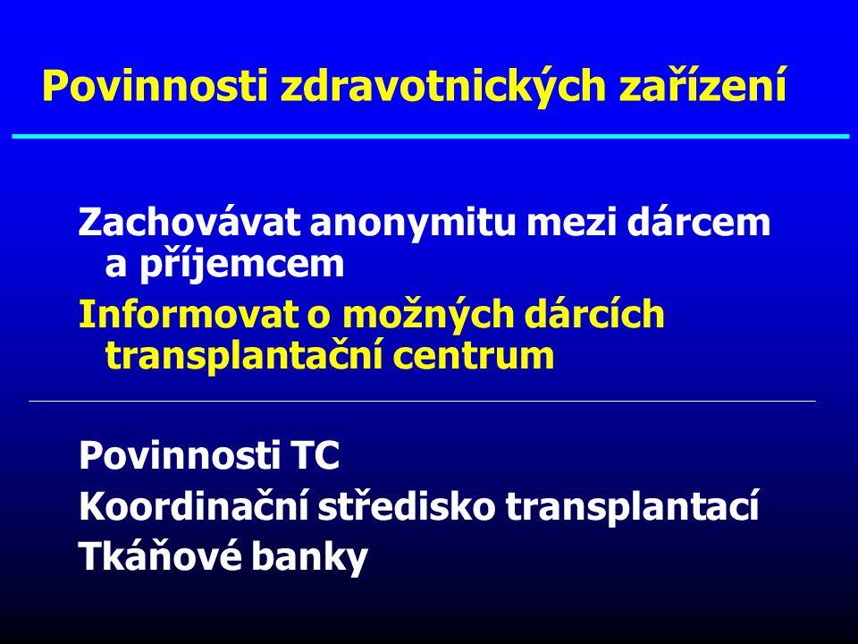 Zachovávat anonymitu mezi dárcem a příjemcem Informovat o možných dárcích transplantační centrum Povinnosti TC Koordinační středisko transplantací Tká