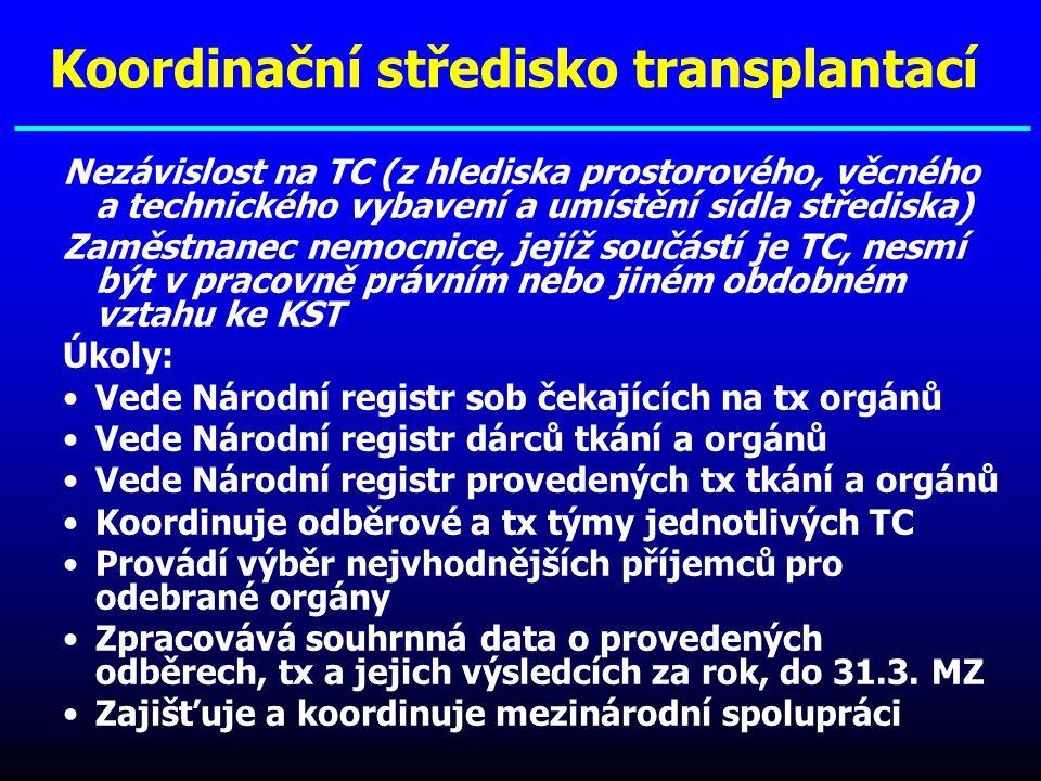 Nezávislost na TC (z hlediska prostorového, věcného a technického vybavení a umístění sídla střediska) Zaměstnanec nemocnice, jejíž součástí je TC, ne