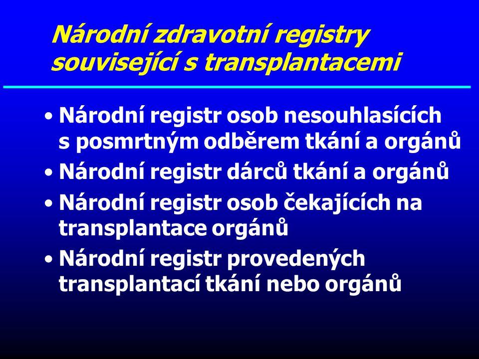 Národní registr osob nesouhlasících s posmrtným odběrem tkání a orgánů Národní registr dárců tkání a orgánů Národní registr osob čekajících na transpl