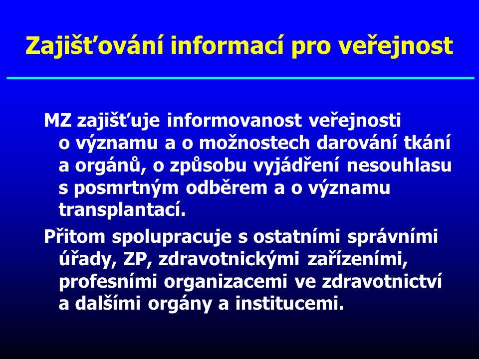 MZ zajišťuje informovanost veřejnosti o významu a o možnostech darování tkání a orgánů, o způsobu vyjádření nesouhlasu s posmrtným odběrem a o významu
