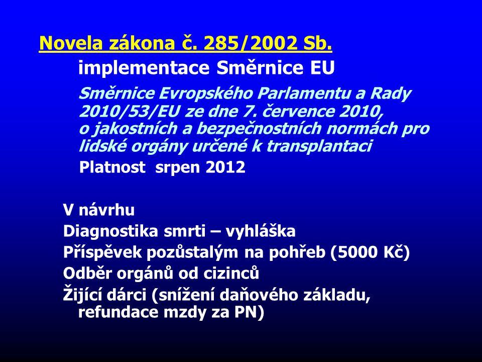 Novela zákona č. 285/2002 Sb. implementace Směrnice EU Směrnice Evropského Parlamentu a Rady 2010/53/EU ze dne 7. července 2010, o jakostních a bezpeč