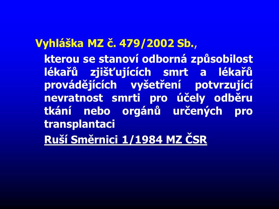 Vyhláška MZ č. 479/2002 Sb., kterou se stanoví odborná způsobilost lékařů zjišťujících smrt a lékařů provádějících vyšetření potvrzující nevratnost sm