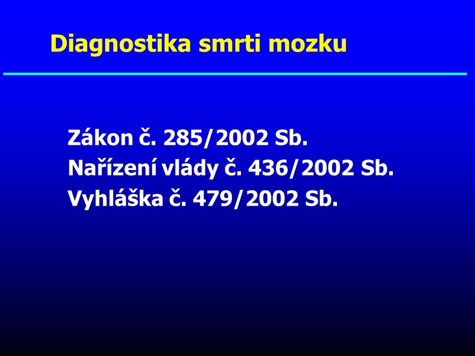 1.Podmínky, za kterých lze uvažovat o dg.smrti mozku 2.Klinická dg.