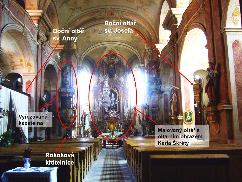 Rokoková křtitelnice Boční oltář sv. Anny Boční oltář sv.