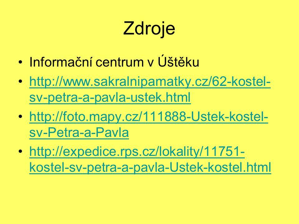 Zdroje Informační centrum v Úštěku http://www.sakralnipamatky.cz/62-kostel- sv-petra-a-pavla-ustek.htmlhttp://www.sakralnipamatky.cz/62-kostel- sv-petra-a-pavla-ustek.html http://foto.mapy.cz/111888-Ustek-kostel- sv-Petra-a-Pavlahttp://foto.mapy.cz/111888-Ustek-kostel- sv-Petra-a-Pavla http://expedice.rps.cz/lokality/11751- kostel-sv-petra-a-pavla-Ustek-kostel.htmlhttp://expedice.rps.cz/lokality/11751- kostel-sv-petra-a-pavla-Ustek-kostel.html