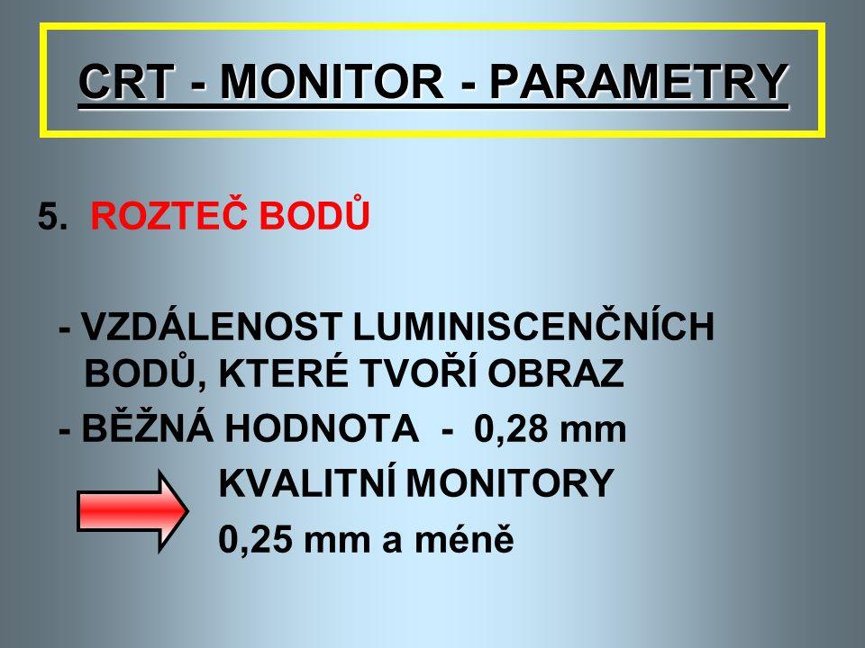 CRT - MONITOR - PARAMETRY 4. ZÁŘENÍ