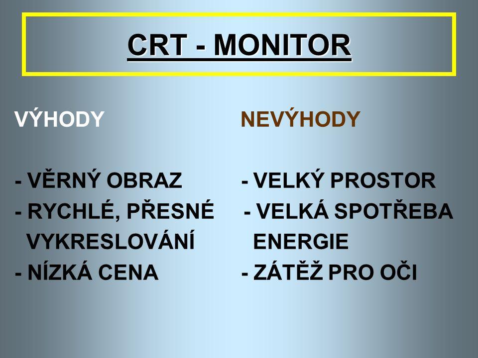 CRT - MONITOR - PARAMETRY 6. BARVA - MONOCHROMATICKÉ – 1 BARVA - BAREVNÉ – 3 SVĚTELNÉ PAPRSKY ČERVENÝ, ZELENÝ, MODRÝ VZNIKNE AŽ 16,5 MIL. BAREV