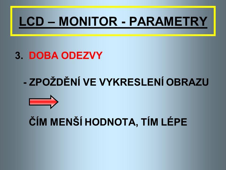 LCD – MONITOR - PARAMETRY 2. KONTRAST - UDÁVÁ SE POMĚREM X:1 NAPŘ. 350:1 ČÍM VYŠŠÍ HODNOTA, TÍM LÉPE - KVALITNÍ MONITORY 500:1