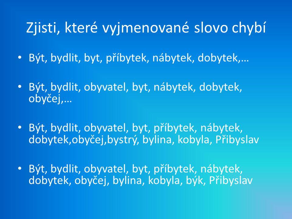 Ob_vatelé, starob_lý, bab_ka, hb_tý, nadb_tek, b_lá barva, dřevěné b_dlo, nab_l pušku, zab_dlit se, b_da, hřeb_ky, ob_čej, B_střice, kdyb_ch, slíb_l b_ch, Zb_ňkův, přeb_vala, b_t na poplach, b_lek, b_kovec, automob_l, b_tost, dob_t baterie, sb_rka Doplň y, ý, i, í