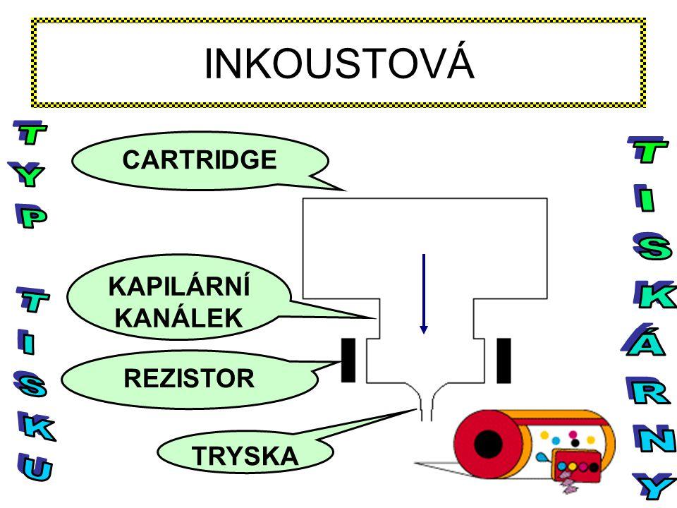 CARTRIDGE KAPILÁRNÍ KANÁLEK REZISTOR TRYSKA