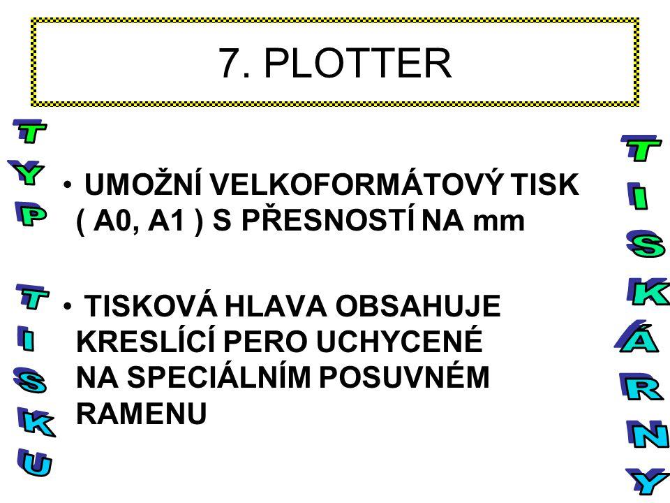 7. PLOTTER UMOŽNÍ VELKOFORMÁTOVÝ TISK ( A0, A1 ) S PŘESNOSTÍ NA mm TISKOVÁ HLAVA OBSAHUJE KRESLÍCÍ PERO UCHYCENÉ NA SPECIÁLNÍM POSUVNÉM RAMENU