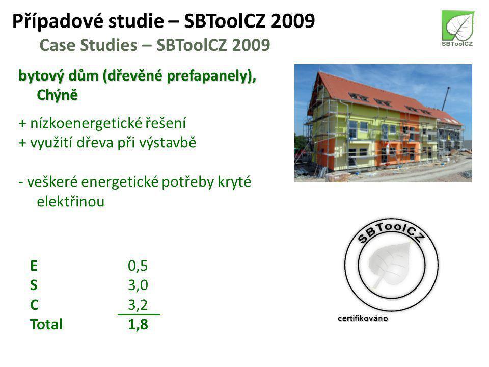 Případové studie – SBToolCZ 2009 Case Studies – SBToolCZ 2009 bytový dům (dřevěné prefapanely), Chýně + nízkoenergetické řešení + využití dřeva při výstavbě - veškeré energetické potřeby kryté elektřinou E0,5 S3,0 C3,2 Total1,8 certifikováno