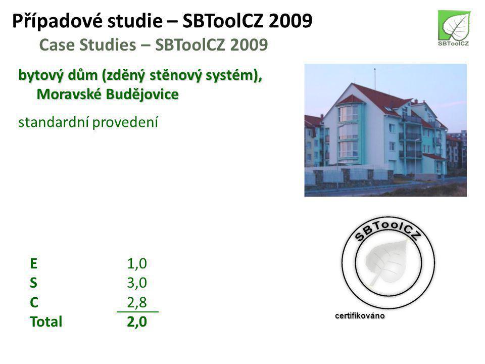 Případové studie – SBToolCZ 2009 Case Studies – SBToolCZ 2009 bytový dům (zděný stěnový systém), Moravské Budějovice standardní provedení E1,0 S3,0 C2,8 Total2,0 certifikováno