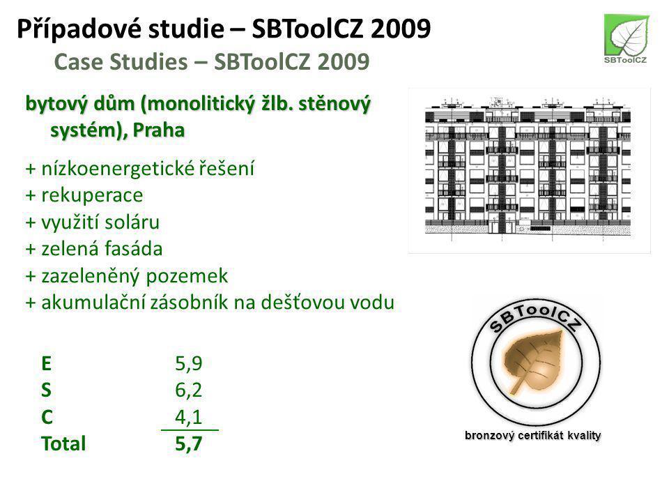 Případové studie – SBToolCZ 2009 Case Studies – SBToolCZ 2009 bytový dům (dřevostavba), Moravské Budějovice + nízkoenergetické řešení + využití dřeva při výstavbě + akumulační zásobník na dešťovou vodu + zelená střecha + zazeleněný pozemek E6,3 S4,2 C2,8 Total5,0 bronzový certifikát kvality