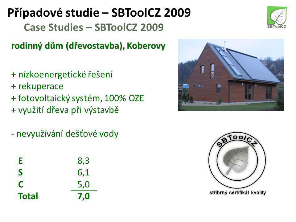 Případové studie – SBToolCZ 2009 Case Studies – SBToolCZ 2009 rodinný dům (dřevostavba), Koberovy + nízkoenergetické řešení + rekuperace + fotovoltaický systém, 100% OZE + využití dřeva při výstavbě - nevyužívání dešťové vody E8,3 S6,1 C5,0 Total7,0 stříbrný certifikát kvality