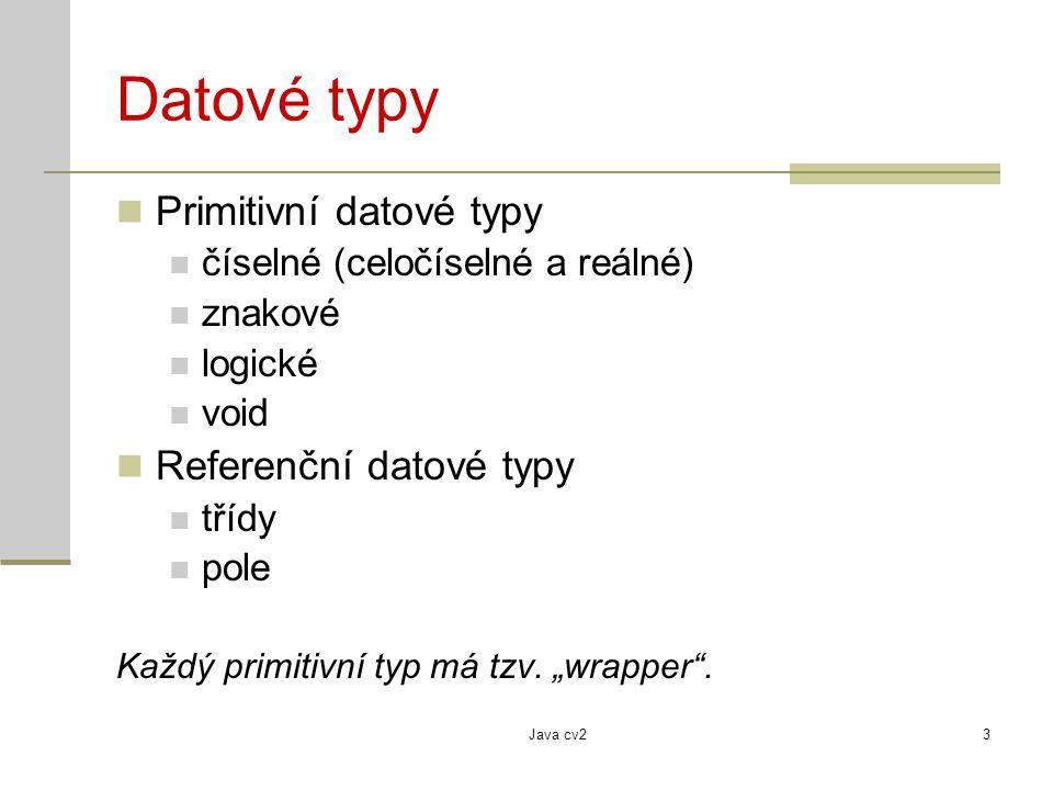 Java cv23 Datové typy Primitivní datové typy číselné (celočíselné a reálné) znakové logické void Referenční datové typy třídy pole Každý primitivní ty