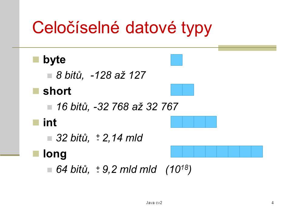 Java cv24 Celočíselné datové typy byte 8 bitů, -128 až 127 short 16 bitů, -32 768 až 32 767 int 32 bitů, 2,14 mld long 64 bitů, 9,2 mld mld (10 18 ) +