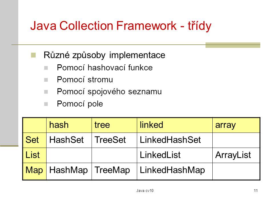Java cv1011 Java Collection Framework - třídy Různé způsoby implementace Pomocí hashovací funkce Pomocí stromu Pomocí spojového seznamu Pomocí pole ha