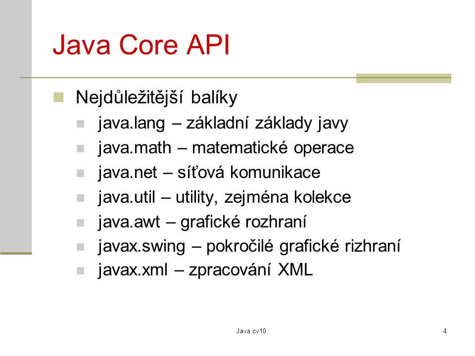 Java cv104 Java Core API Nejdůležitější balíky java.lang – základní základy javy java.math – matematické operace java.net – síťová komunikace java.uti