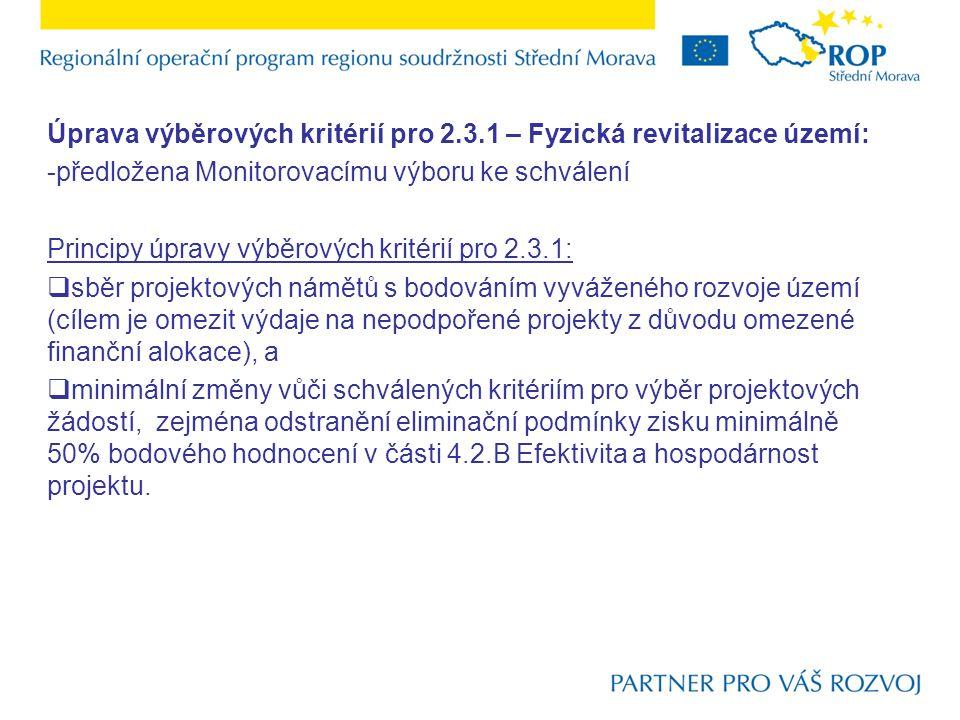 Úprava výběrových kritérií pro 2.3.1 – Fyzická revitalizace území: -předložena Monitorovacímu výboru ke schválení Principy úpravy výběrových kritérií pro 2.3.1:  sběr projektových námětů s bodováním vyváženého rozvoje území (cílem je omezit výdaje na nepodpořené projekty z důvodu omezené finanční alokace), a  minimální změny vůči schválených kritériím pro výběr projektových žádostí, zejména odstranění eliminační podmínky zisku minimálně 50% bodového hodnocení v části 4.2.B Efektivita a hospodárnost projektu.