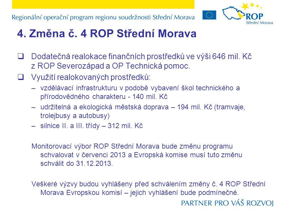 4. Změna č. 4 ROP Střední Morava  Dodatečná realokace finančních prostředků ve výši 646 mil.
