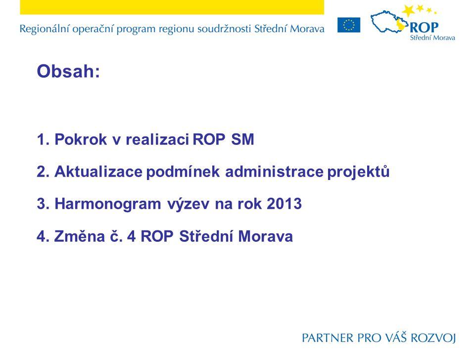 Obsah: 1.Pokrok v realizaci ROP SM 2.Aktualizace podmínek administrace projektů 3.Harmonogram výzev na rok 2013 4.Změna č.
