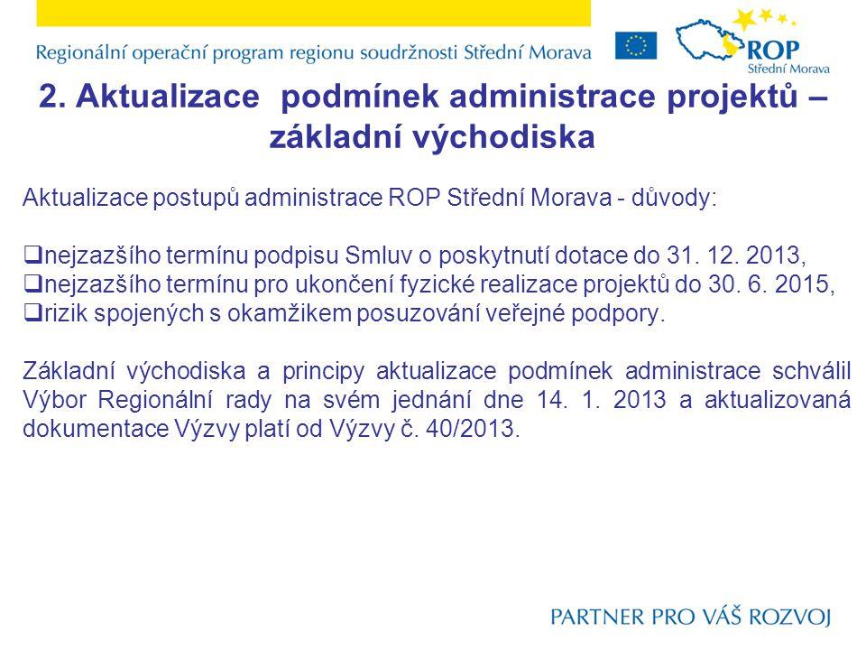 2. Aktualizace podmínek administrace projektů – základní východiska Aktualizace postupů administrace ROP Střední Morava - důvody:  nejzazšího termínu