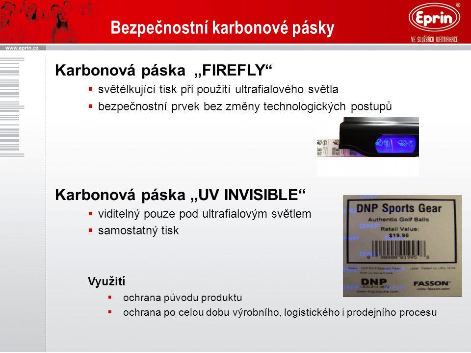 """Bezpečnostní karbonové pásky Karbonová páska """"FIREFLY""""  světélkující tisk při použití ultrafialového světla  bezpečnostní prvek bez změny technologi"""