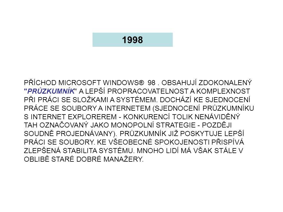 PŘÍCHOD MICROSOFT WINDOWS® 98. OBSAHUJÍ ZDOKONALENÝ