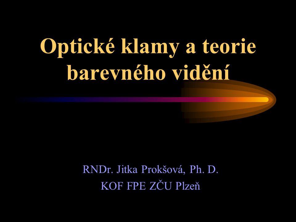 Optické klamy a teorie barevného vidění RNDr. Jitka Prokšová, Ph. D. KOF FPE ZČU Plzeň