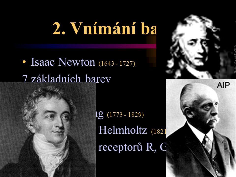 2. Vnímání barev Isaac Newton (1643 - 1727) 7 základních barev Thomas Young (1773 - 1829) Hermann von Helmholtz (1821 - 1894) přesný popis tří recepto