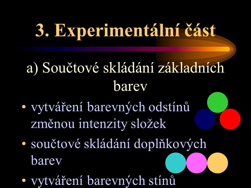 3. Experimentální část a) Součtové skládání základních barev vytváření barevných odstínů změnou intenzity složek součtové skládání doplňkových barev v