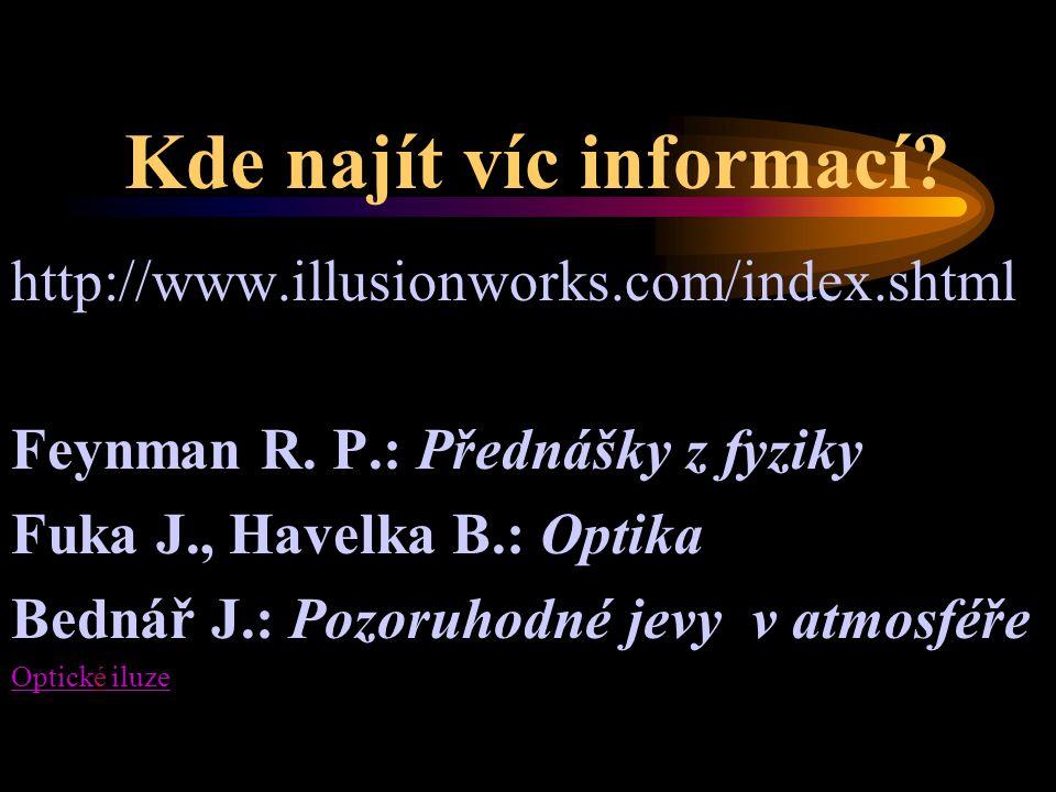 Kde najít víc informací? http://www.illusionworks.com/index.shtml Feynman R. P.: Přednášky z fyziky Fuka J., Havelka B.: Optika Bednář J.: Pozoruhodné