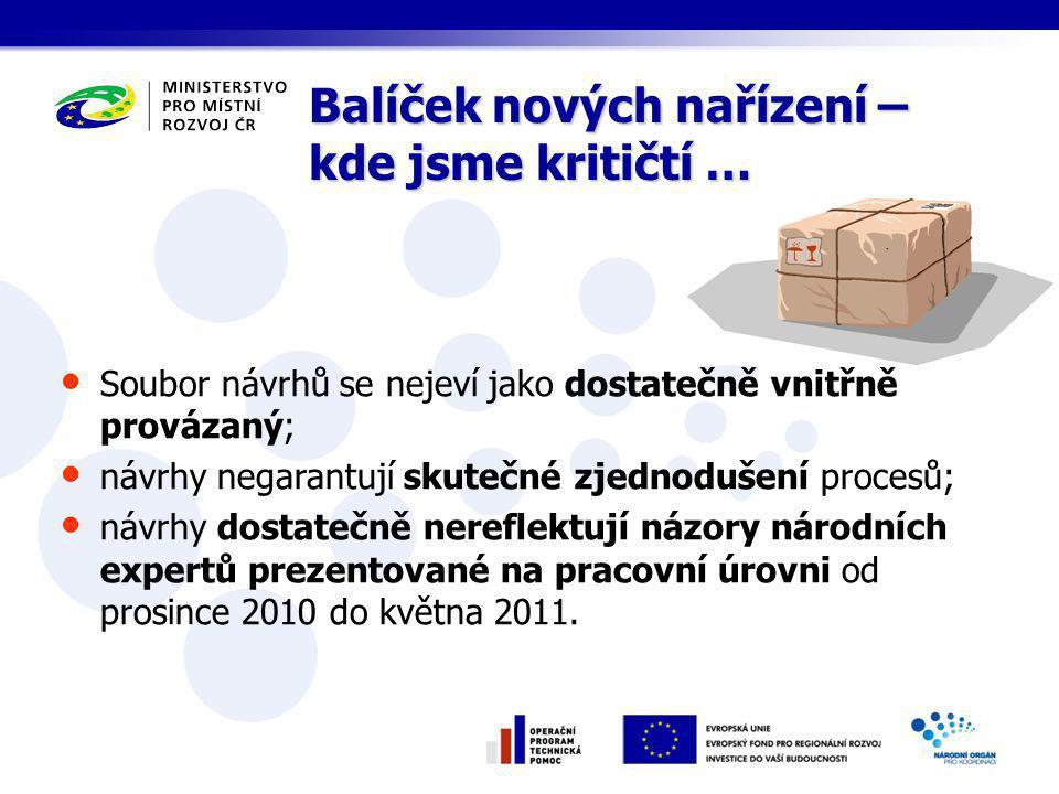 Soubor návrhů se nejeví jako dostatečně vnitřně provázaný; návrhy negarantují skutečné zjednodušení procesů; návrhy dostatečně nereflektují názory národních expertů prezentované na pracovní úrovni od prosince 2010 do května 2011.