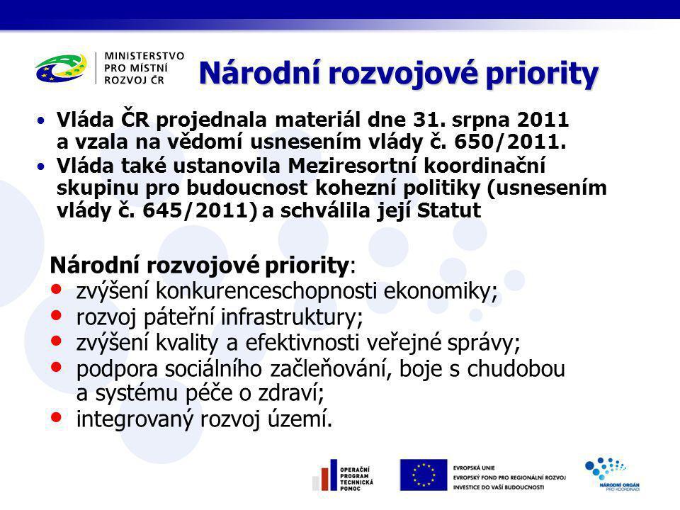 Národní rozvojové priority: zvýšení konkurenceschopnosti ekonomiky; rozvoj páteřní infrastruktury; zvýšení kvality a efektivnosti veřejné správy; podpora sociálního začleňování, boje s chudobou a systému péče o zdraví; integrovaný rozvoj území.