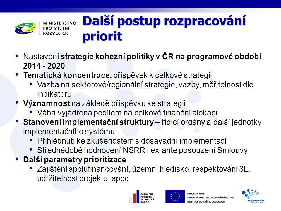Nastavení strategie kohezní politiky v ČR na programové období 2014 - 2020 Tematická koncentrace, příspěvek k celkové strategii Vazba na sektorové/regionální strategie, vazby, měřitelnost dle indikátorů Významnost na základě příspěvku ke strategii Váha vyjádřená podílem na celkové finanční alokaci Stanovení implementační struktury – řídicí orgány a další jednotky implementačního systému Přihlédnutí ke zkušenostem s dosavadní implementací Střednědobé hodnocení NSRR i ex-ante posouzení Smlouvy Další parametry prioritizace Zajištění spolufinancování, územní hledisko, respektování 3E, udržitelnost projektů, apod.