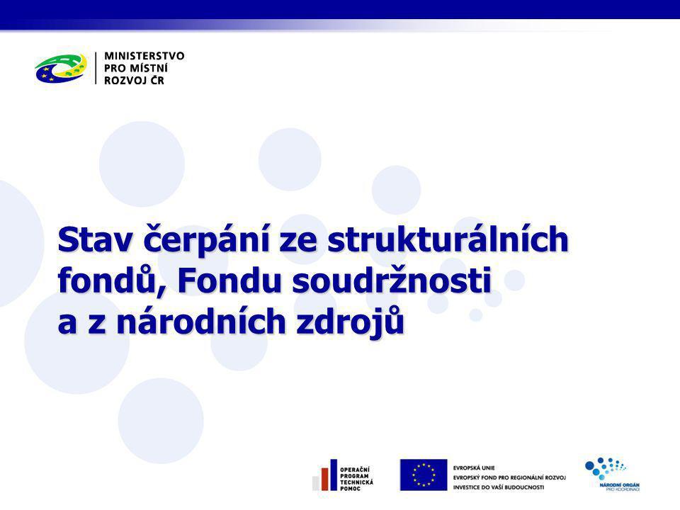 Stav čerpání ze strukturálních fondů, Fondu soudržnosti a z národních zdrojů