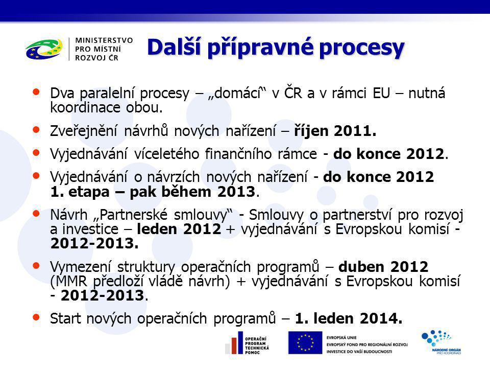 """Další přípravné procesy Dva paralelní procesy – """"domácí v ČR a v rámci EU – nutná koordinace obou."""