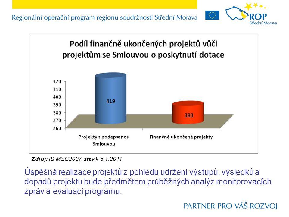 Zdroj: IS MSC2007, stav k 5.1.2011 Úspěšná realizace projektů z pohledu udržení výstupů, výsledků a dopadů projektu bude předmětem průběžných analýz monitorovacích zpráv a evaluací programu.