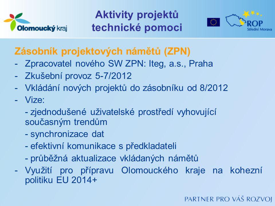 Zásobník projektových námětů (ZPN) -Zpracovatel nového SW ZPN: Iteg, a.s., Praha -Zkušební provoz 5-7/2012 -Vkládání nových projektů do zásobníku od 8