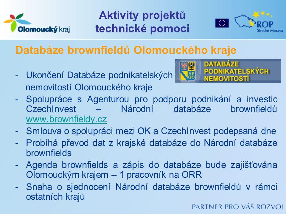 Databáze brownfieldů Olomouckého kraje -Ukončení Databáze podnikatelských nemovitostí Olomouckého kraje -Spolupráce s Agenturou pro podporu podnikání