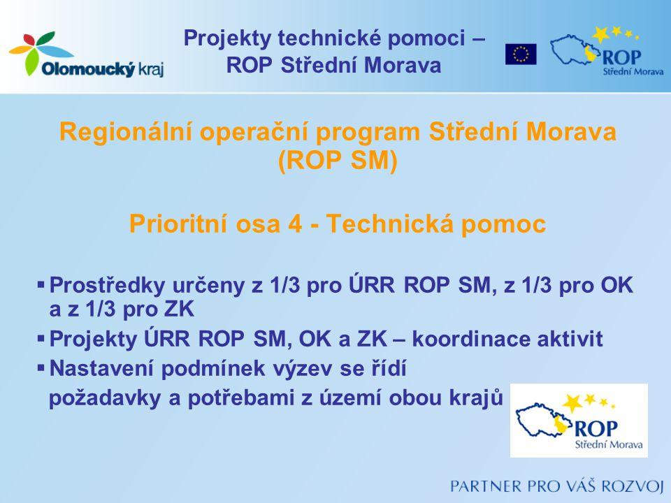 Regionální operační program Střední Morava (ROP SM) Prioritní osa 4 - Technická pomoc  Prostředky určeny z 1/3 pro ÚRR ROP SM, z 1/3 pro OK a z 1/3 p