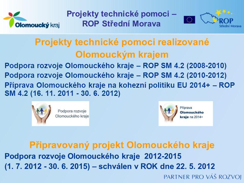 Projekty technické pomoci realizované Olomouckým krajem Podpora rozvoje Olomouckého kraje – ROP SM 4.2 (2008-2010) Podpora rozvoje Olomouckého kraje –