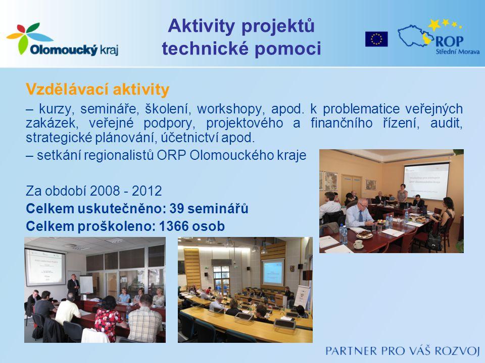 Vzdělávací aktivity – kurzy, semináře, školení, workshopy, apod. k problematice veřejných zakázek, veřejné podpory, projektového a finančního řízení,