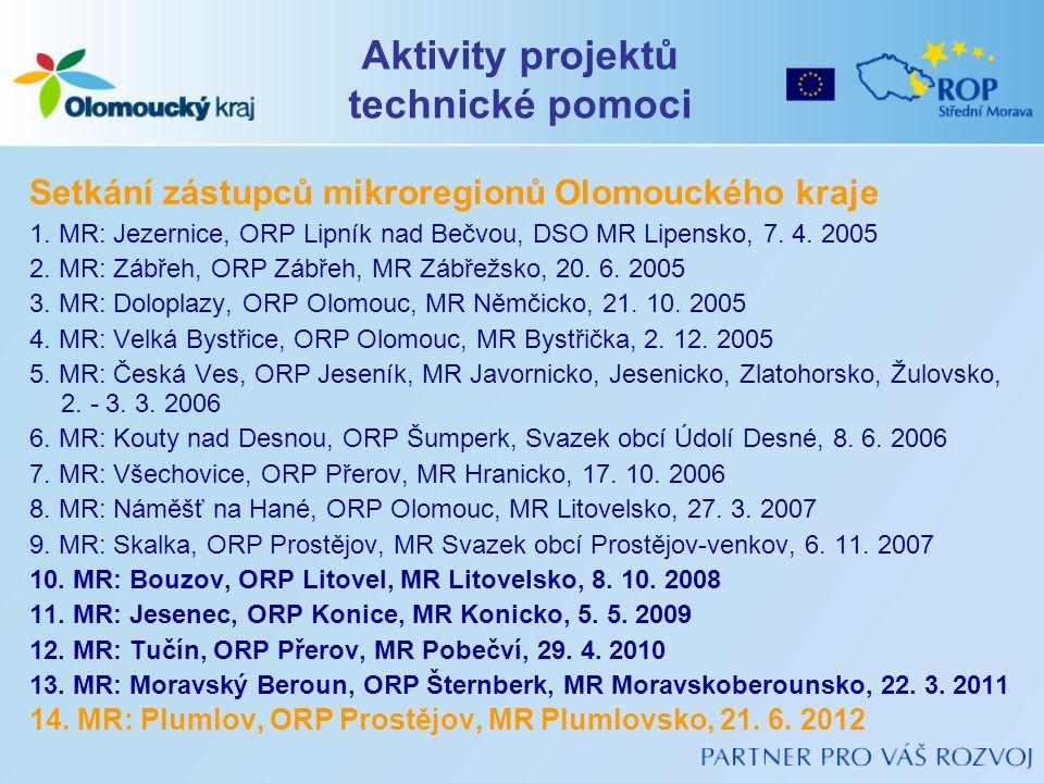 Setkání zástupců mikroregionů Olomouckého kraje 1. MR: Jezernice, ORP Lipník nad Bečvou, DSO MR Lipensko, 7. 4. 2005 2. MR: Zábřeh, ORP Zábřeh, MR Záb